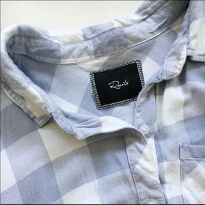 Plaid blue and white button up
